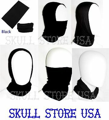 Black Neck Gaiter Tube Motley Scarf Balaclava Tubular Bandana Head Wrap OS Adult