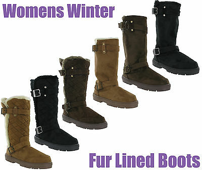 04c9ae9e6d9fb3 Ella Fur Lined Quilted Womens Buckle Warm Lined Winter Snugg Boots UK3-8