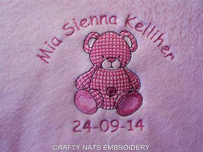 Personalised Fleece Blanket Girl/Boys Baby Pink/Blue Royal Gift Various Designs