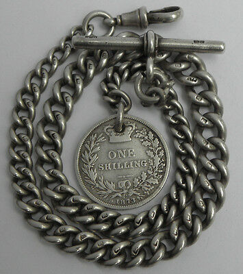 BEAUTIFUL ANTIQUE VICTORIAN B1891 SOLID STERLING SILVER ALBERT WATCH CHAIN & FOB