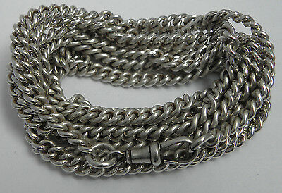 FINE HEAVY 128g ANTIQUE 60 INCH LONG SOLID STERLING SILVER CURB LINK GUARD CHAIN
