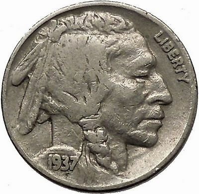 1937 BUFFALO NICKEL 5 Cents of United States of America USA Antique Coin i43913
