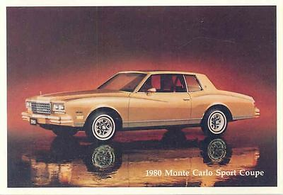 1980 Chevrolet Monte Carlo Sport Coupe ORIGINAL Factory Postcard my0572