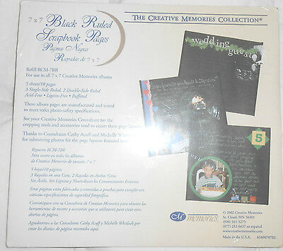 CREATIVE MEMORIES 7 x 7 BLACK RULED PAGES 5 sheets 10 pages NEW NIP