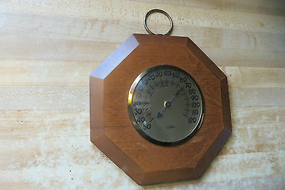 Art Deco wooden wall hanging working thermometer Cooper 1970's