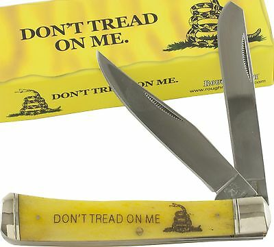 Rough Rider Don't Tread on Me Yellow Smooth Trapper Pocket Knife RR1381 Snake