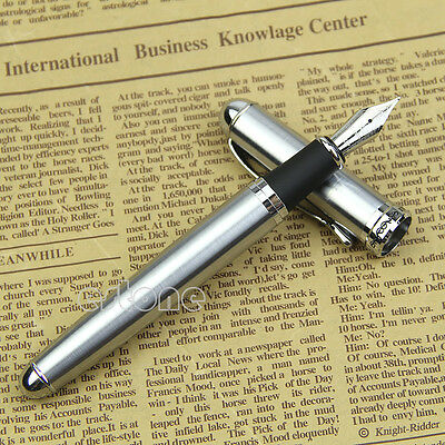 NEW Jinhao X750 Silver Stainless Steel Medium 18KGP Nib Fountain Pen Good Gift