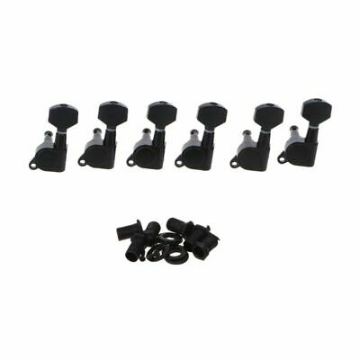 New Set of 6L Left Inline Guitar String Tuning Pegs Tuners Machine Head Black