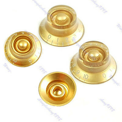 1 Set Guitar Speed Knob For Les Paul Gold Brown Volume Tone New