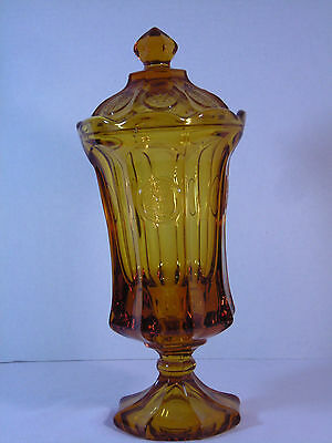 FOSTORIA AMBER GLASS COIN DOT EAGLE & TORCH URN / CANDY DISH (7-259)