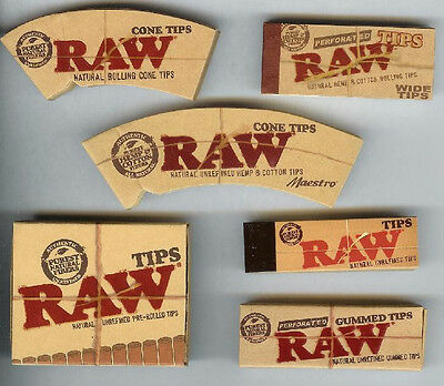 SIX Packs RAW Rolling Paper TIPS Collection Bundle 6 styles ASSORTED - 218 TOTAL
