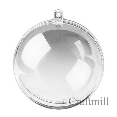 Clear PLASTIC CRAFT Balls - 2-part Spheres Baubles Favours Wedding Xmas