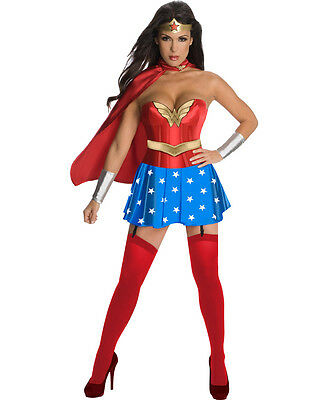 Wonder Woman Sexy Adult Costume Dress w/Cape for Halloween Cosplay Party AllSize
