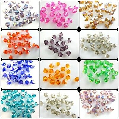 New Wholesale 1000pcs Glass Crystal Charms Bicone Loose Spacer Faceted Beads 4mm