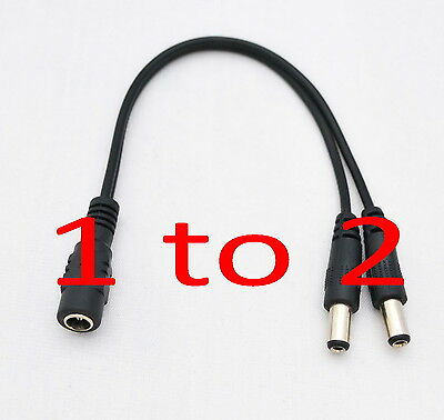 1PCS DC Power 5.5x2.1mm 1 Female to 2 Male Plug Cable Splitter Adapter for CCTV