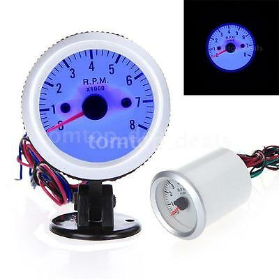"""2"""" 52mm Car Auto 8000RPM Tachometer Tach Gauge LED Pointer Numbers &Holder Cup"""