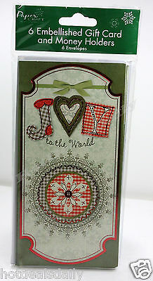 6Pk Gift Card / Money Holder Joy To The World Country Christmas Cards Wallets
