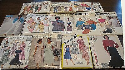 12 Vintage Womens Patterns c. 1980 Most Cut to fit Size 12-14