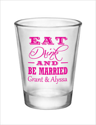96 Wedding Favors Custom 1.5oz Glass Shot Glasses NEW 2015 Personalized Designs