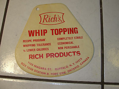 Rich's Whip Topping, advertising piece, plastic