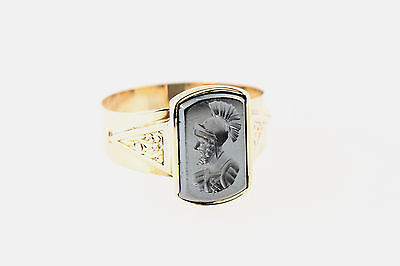 ESTATE ART DECO 10K ROSE GOLD ON BLK JET w/ROMAN SOLDIER SIGNET RING  SZ 10