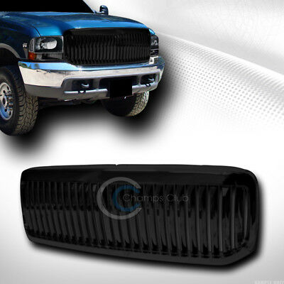 Blk Vertical Front Hood Bumper Grill Grille Cover Abs 99-04 F250/f350/excursion