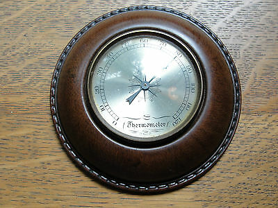 Leather cased desk thermometer, glass cover over gauge, old, nautical
