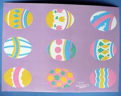 Vintage Paper Art 18 Stickers 2 Same Sheets Colored Easter Eggs Flowers Shapes