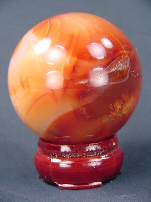"BUTW carnelian agate sphere 2.5"" lapidary gemstone healing orb with stand 4176K"