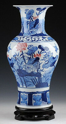 Wonderful porcelain vase painted lotus flowers and flying birds in summer view