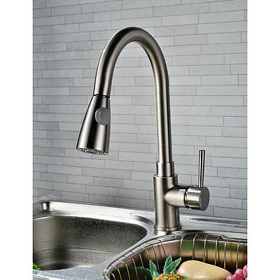 Kitchen Sink Faucet Pull Out Spray Mixer Tap Brushed Nickel