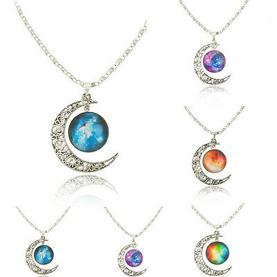 Women Fashion Galactic Glass Cabochon Pendant Silver-Tone Crescent Moon Necklace