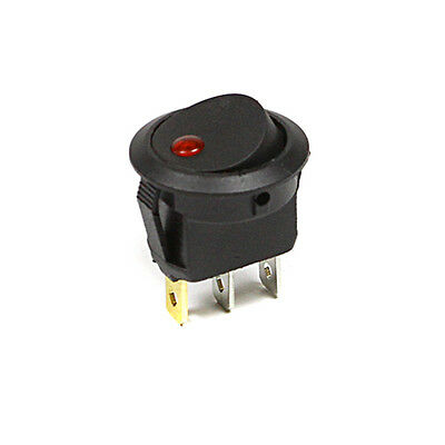 MINI on/off latching rocker switch illuminated Red LED SPST 3 TERMINALS 10A 125V