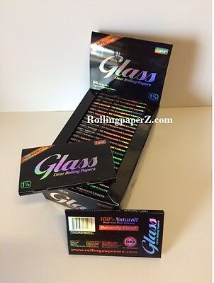 FULL BOX GLASS 1 1/4 CLEAR CELLULOSE Cigarette rolling papers - 24 Pack/50 count