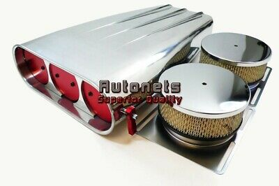 Polished Aluminum Single/Dual 4BBL Butterfly Hood Intake Scoop Street Hot Rod