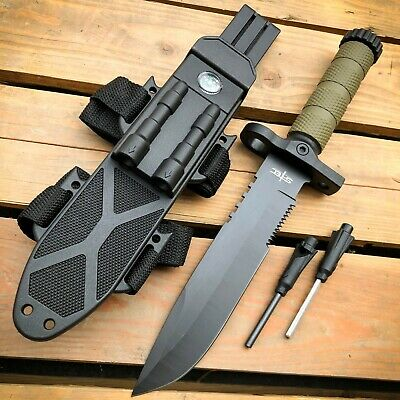 "12.5"" MILITARY TACTICAL Hunting FIXED BLADE SURVIVAL Knife w Fire Starter Army"