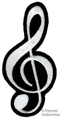 EMBROIDERED TREBLE CLEF iron-on PATCH MUSIC G NOTE SHEET MUSIC SYMBOL applique