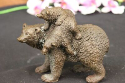 Two Young Cubs on back Mother Bear Bronze Sculpture Statue Figurine Art Deco NR
