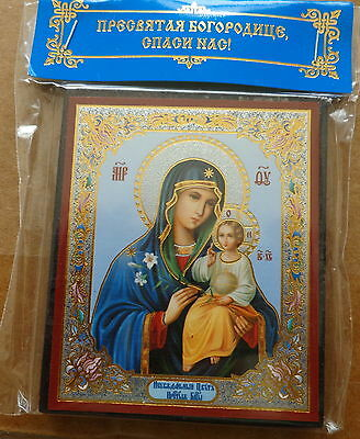 Russian wood icon Mother of God   the Eternal Bloom