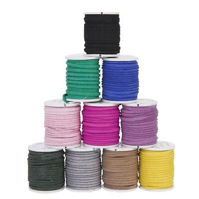 10 Colors 3M Suede Leather Cord Thread String 3mm DIY Jewelry Bracelets Making