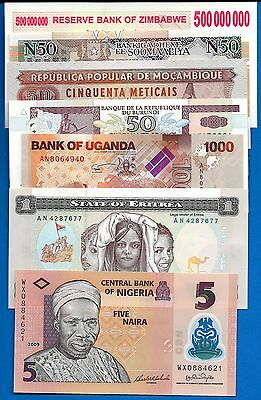 African Set-2, Seven (7) Banknote Set Uncirculated Banknote Africa