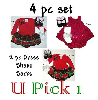 HOLIDAY CHRISTMAS DRESS SHOES SOCKS 4 PC SET OUTFIT BABY GIRLS CHILDREN CLOTHES