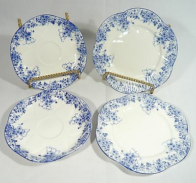 """2 SHELLEY """" DAINTY BLUE """" Saucers and 2 Side / Bread Plates"""