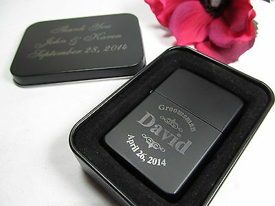 2 Personalized Engraved Lighters with Gift Tin Groomsman Best Man Wedding Gift