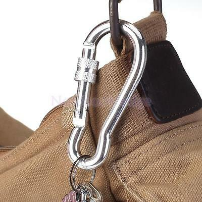 5 x Silver Aluminum Screw Carabiner Spring Snap Hook Keychain Hiking Camping
