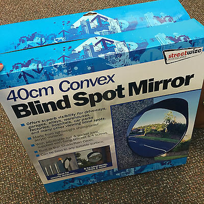 40cm Outdoor, Garage, Driveway Convex Security & Blind Spot Bend Mirror - Black