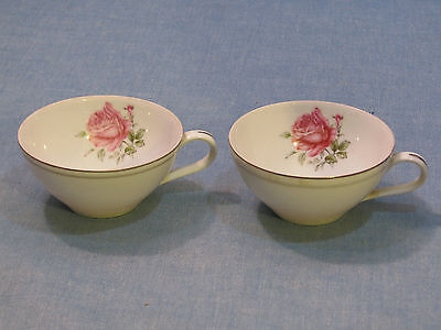 2 Vintage Flat Cup In The Imperial Rose Pattern By Fine China Of Japan #6702