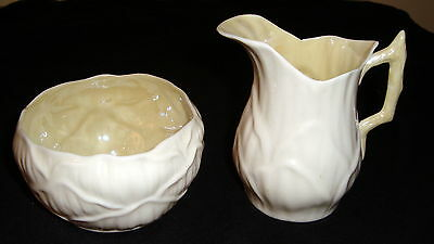 BELLEEK  Green Stamp  LILY WHITE Sugar Bowl and Creamer WITH YELLOW ACCENTS