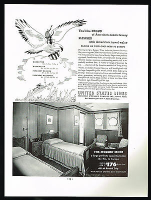 1934 United States LInes Cruise Ship To Europe Cabin Magazine Print Ad