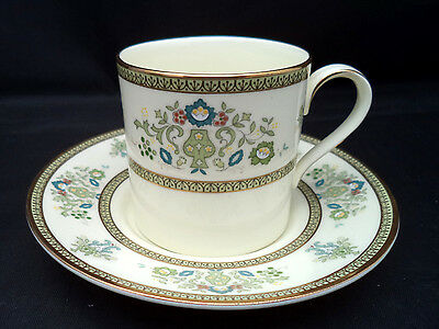 Demitasse Cup & Saucer Minton Bone China England HENLEY Green Flowers Scrolls